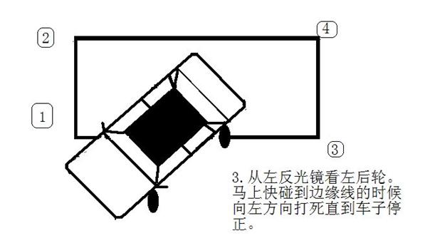 6、出库:打左灯,方向盘不用回(也就是还是左打1.5圈时),挂1档起步,当看到机盖最右侧越过左库边线时,向右回轮1.5圈,继续前进到右侧雨刷最右一节库压住库左线时,向右打1圈,车正回1圈,向前行驶。关转向灯,考试结束。