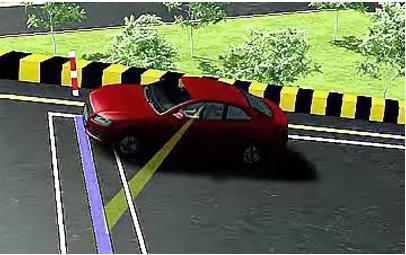 坡道定点停车和起步考试首先是定点停车,然后是坡道起步,因此进入停车点并准确停车非常关键。一般在学习时,教练要求的进入停车点的方法是:进入时汽车发动机舱盖上的瓶盖瞄准路上的白线的中间.驶上坡后一注意观察汽车仪表板的凸起的右上角,当视线中谕角乌劝杆左一条线上时.