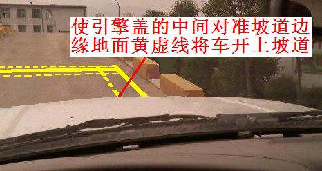 其实坡道定点停车与起步科目很简单,就三个关键点,第一,我称之为追边,即上面的看点一,让车头的正中间位置对准地面黄虚线直行,此时,右车轮就会正好压着黄虚线前行;第二,停车位置的确定,这与倒车入库停车位置的确定方法类似,也是看左后视镜根部边缘与地面停车线的位置关系;第三,坡起,即上面的看点三,看转速下降幅度确定起步时机。(注意:本文介绍的坡起方法不涉及手刹和油门操作,只是离合与脚刹的配合)  先来看下上坡路定点停车和起步平面图   1、看点一:使引擎盖的正中间对准坡道边的黄色虚线,将车辆开上斜坡,此时,