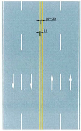 双黄实线禁止跨越对向车行道分界线标志
