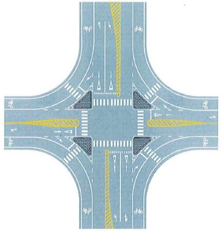 十字交叉口导流线设置示例 图解交通标志 禁止标线篇